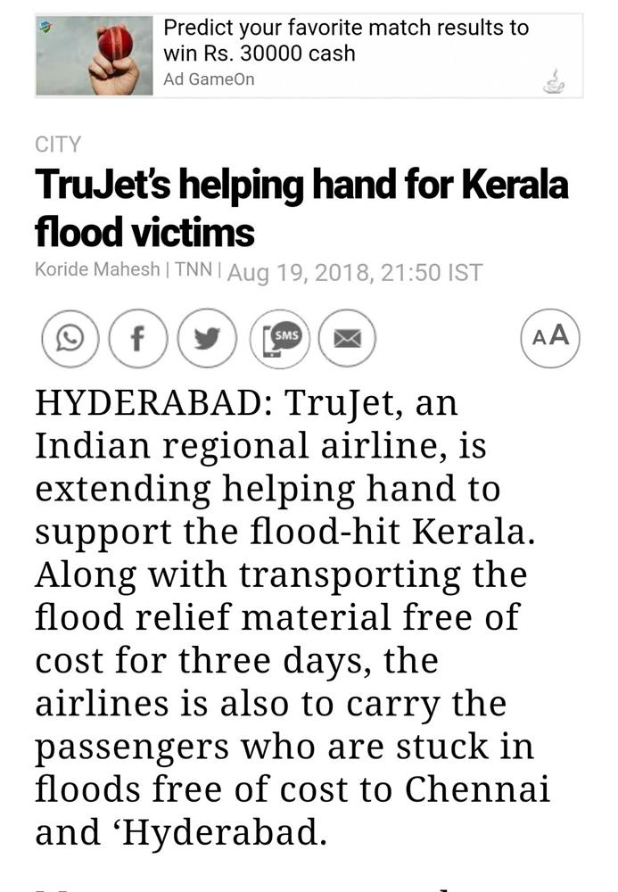 trujet helping kerala flood news