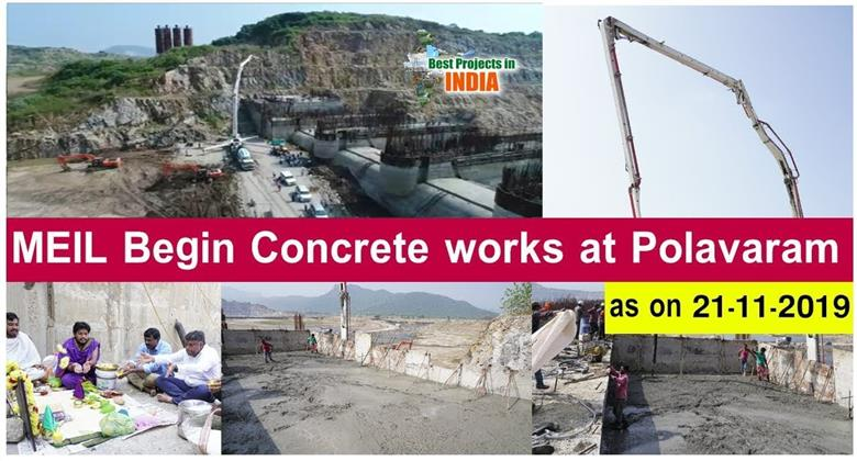 MEIL Begin Concrete works at Polavaram As On 21-11-2019 | Megha Engineering and Infrastructures Ltd