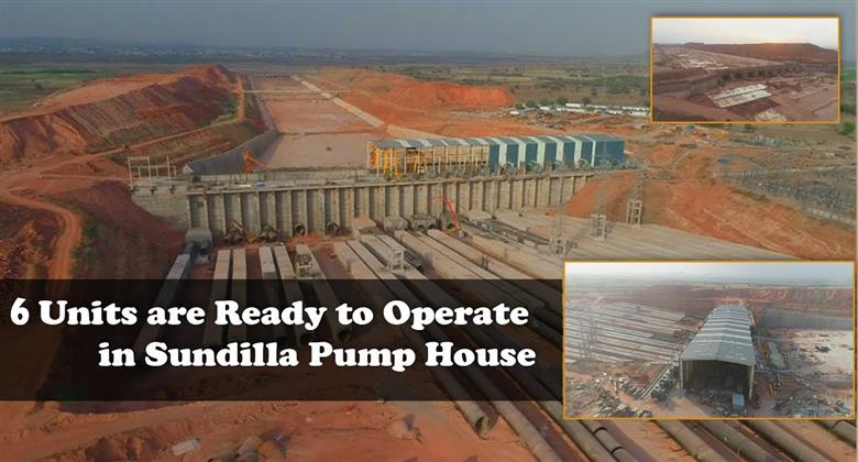 6 Units are Ready in Sundilla Pump House under Kaleshwaram lift Irrigation Scheme